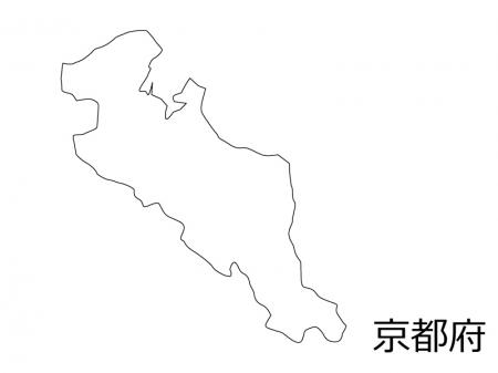 京都府の白地図のイラスト素材