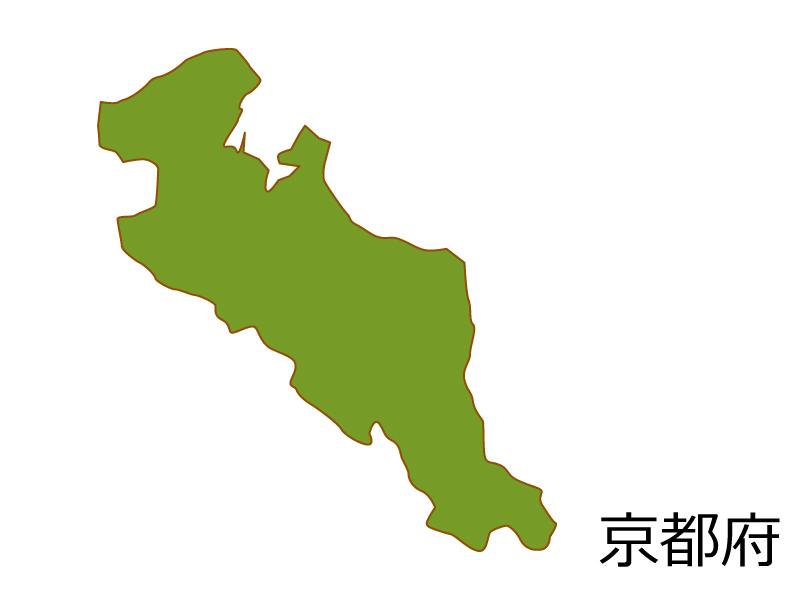 京都府の地図(色付き)のイラスト素材