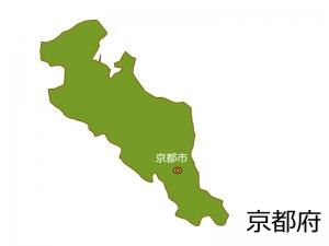 京都府と京都市の地図イラスト素材