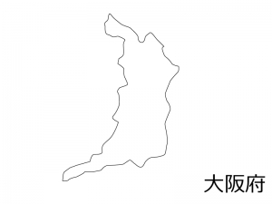 大阪府の白地図のイラスト素材