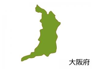 大阪府の地図(色付き)のイラスト素材