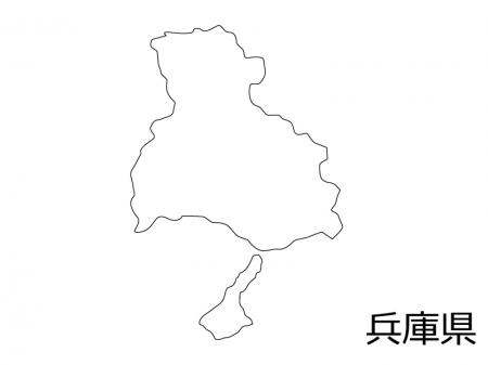 兵庫県の白地図のイラスト素材