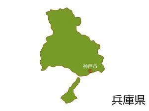 兵庫県と神戸市の地図イラスト素材