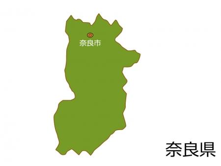奈良県と奈良市の地図イラスト素材
