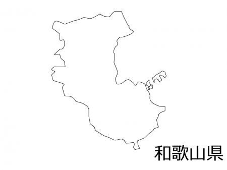 和歌山県の白地図のイラスト素材
