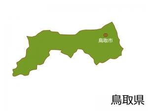 鳥取県と鳥取市の地図イラスト素材