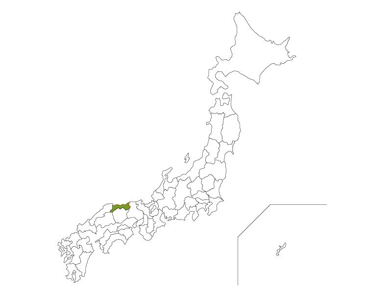 日本地図と鳥取県のイラスト