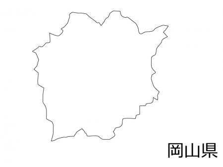 岡山県の白地図のイラスト素材
