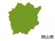 岡山県の地図(色付き)のイラスト素材