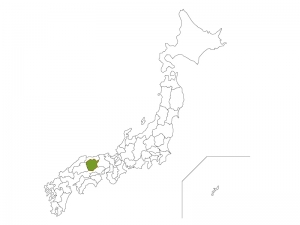 日本地図と岡山県のイラスト