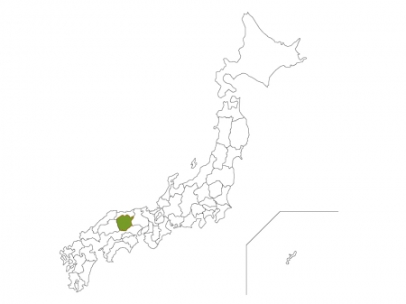 日本地図と岡山県のイラスト