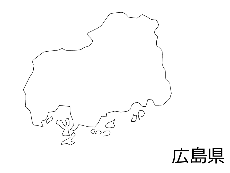 広島県の白地図のイラスト素材