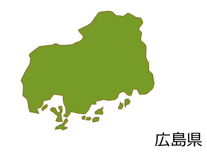 広島県の地図(色付き)のイラスト素材