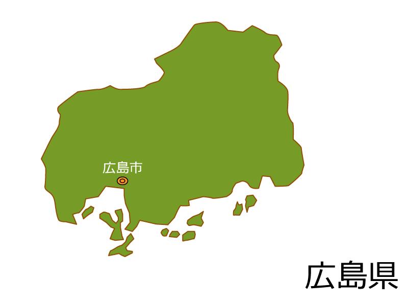 広島県と広島市の地図イラスト素材