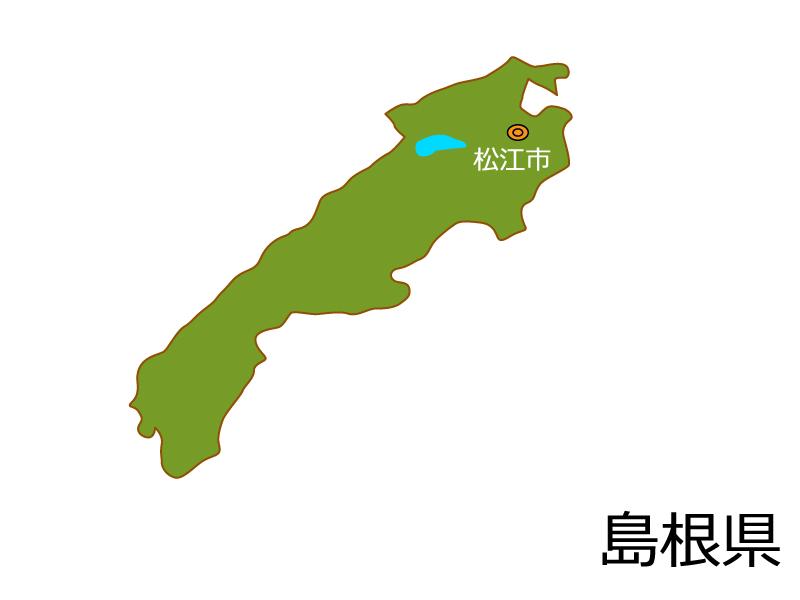 島根県と松江市の地図イラスト素材