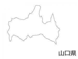 山口県の白地図のイラスト素材