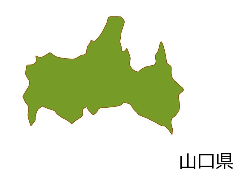山口県の地図(色付き)のイラスト素材