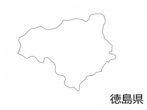 徳島県の白地図のイラスト素材
