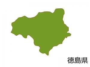 徳島県の地図(色付き)のイラスト素材