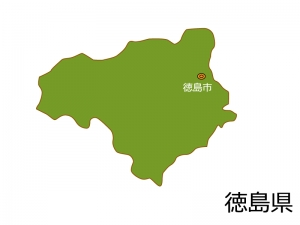 徳島県と徳島市の地図イラスト素材