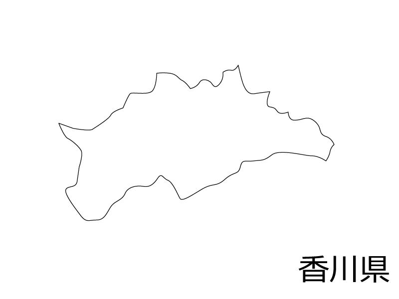 香川県の白地図のイラスト素材
