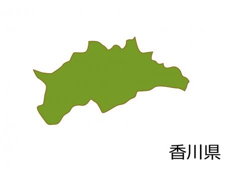 香川県の地図(色付き)のイラスト素材