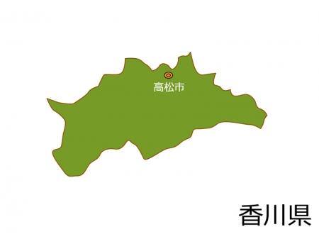 香川県と高松市の地図イラスト素材
