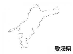 愛媛県の白地図のイラスト素材