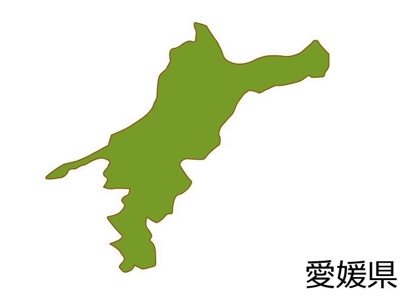 愛媛県の地図(色付き)のイラスト素材