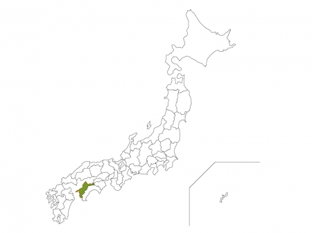 日本地図と愛媛県のイラスト