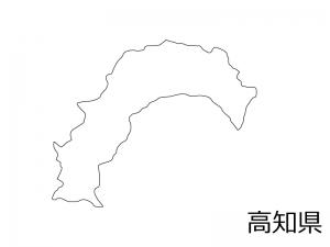 高知県の白地図のイラスト素材