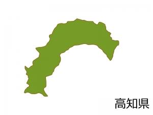 高知県の地図(色付き)のイラスト素材