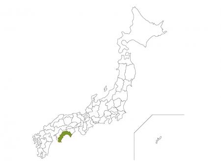 日本地図と高知県のイラスト