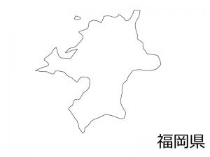 福岡県の白地図のイラスト素材