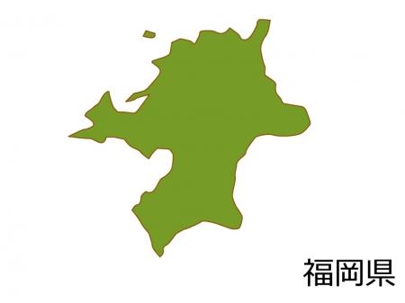 福岡県の地図(色付き)のイラスト素材