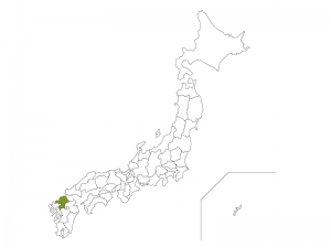 日本地図と福岡県のイラスト