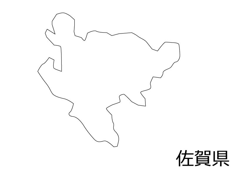 佐賀県の白地図のイラスト素材