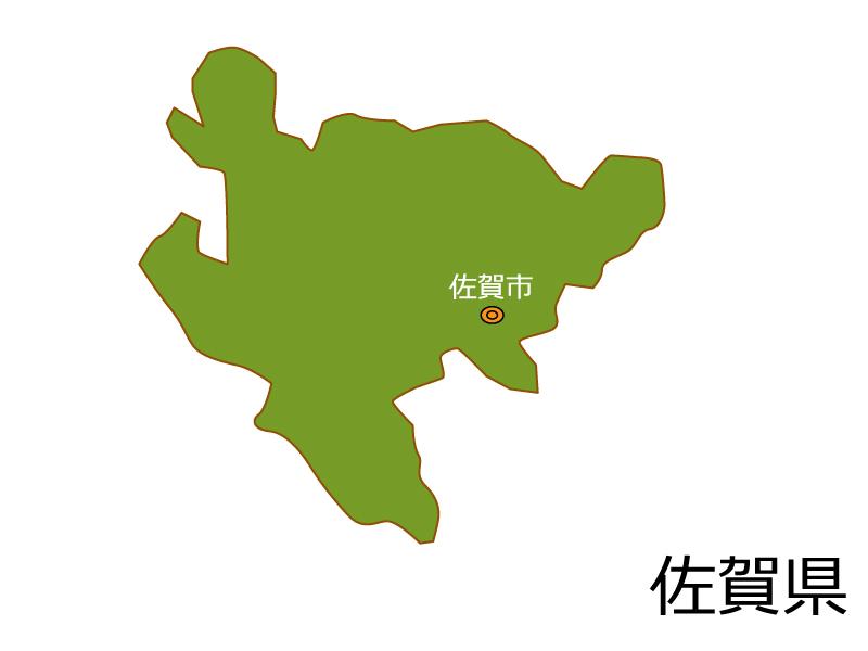 佐賀県と佐賀市の地図イラスト素材