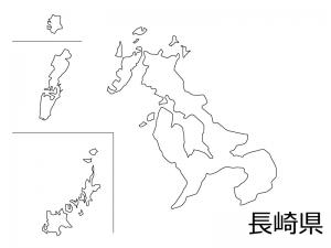 長崎県の白地図のイラスト素材