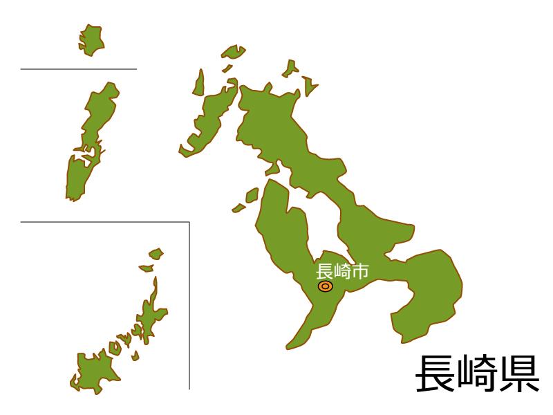 長崎県と長崎市の地図イラスト素材