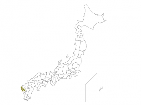 日本地図と長崎県のイラスト