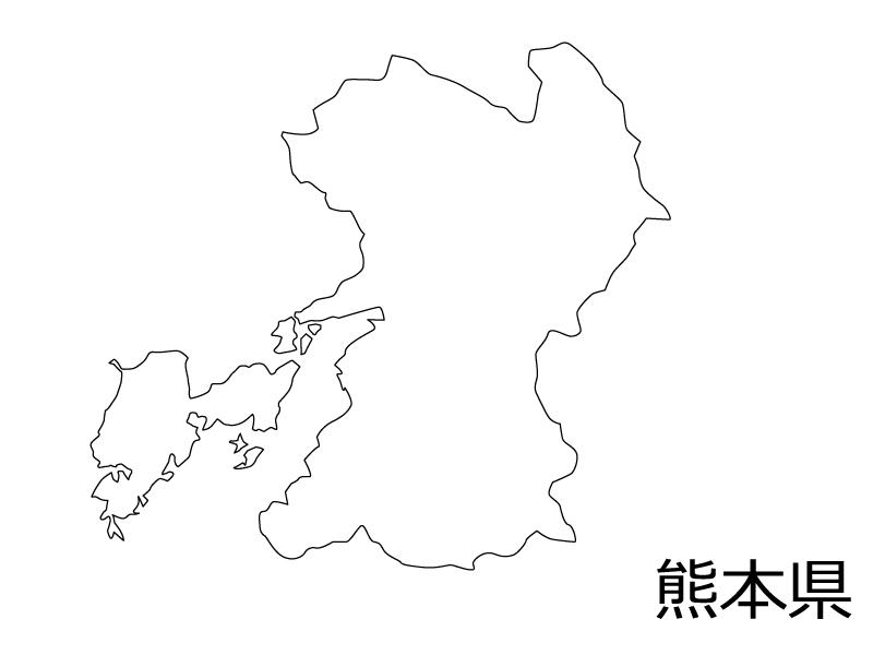 熊本県の白地図のイラスト素材