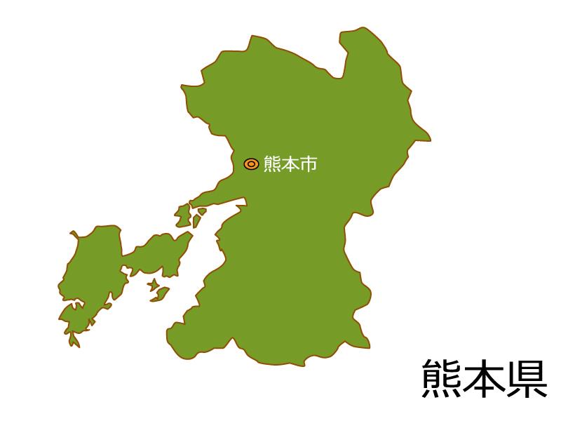 熊本県と熊本市の地図イラスト素材