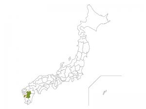 日本地図と熊本県のイラスト