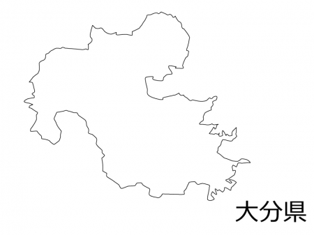 大分県の白地図のイラスト素材