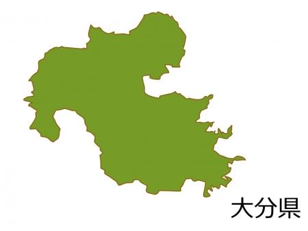 大分県の地図(色付き)のイラスト素材