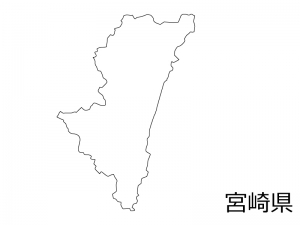 宮崎県の白地図のイラスト素材