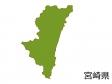 宮崎県の地図(色付き)のイラスト素材