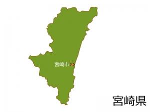宮崎県と宮崎市の地図イラスト素材