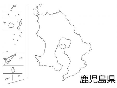 鹿児島県の白地図のイラスト素材